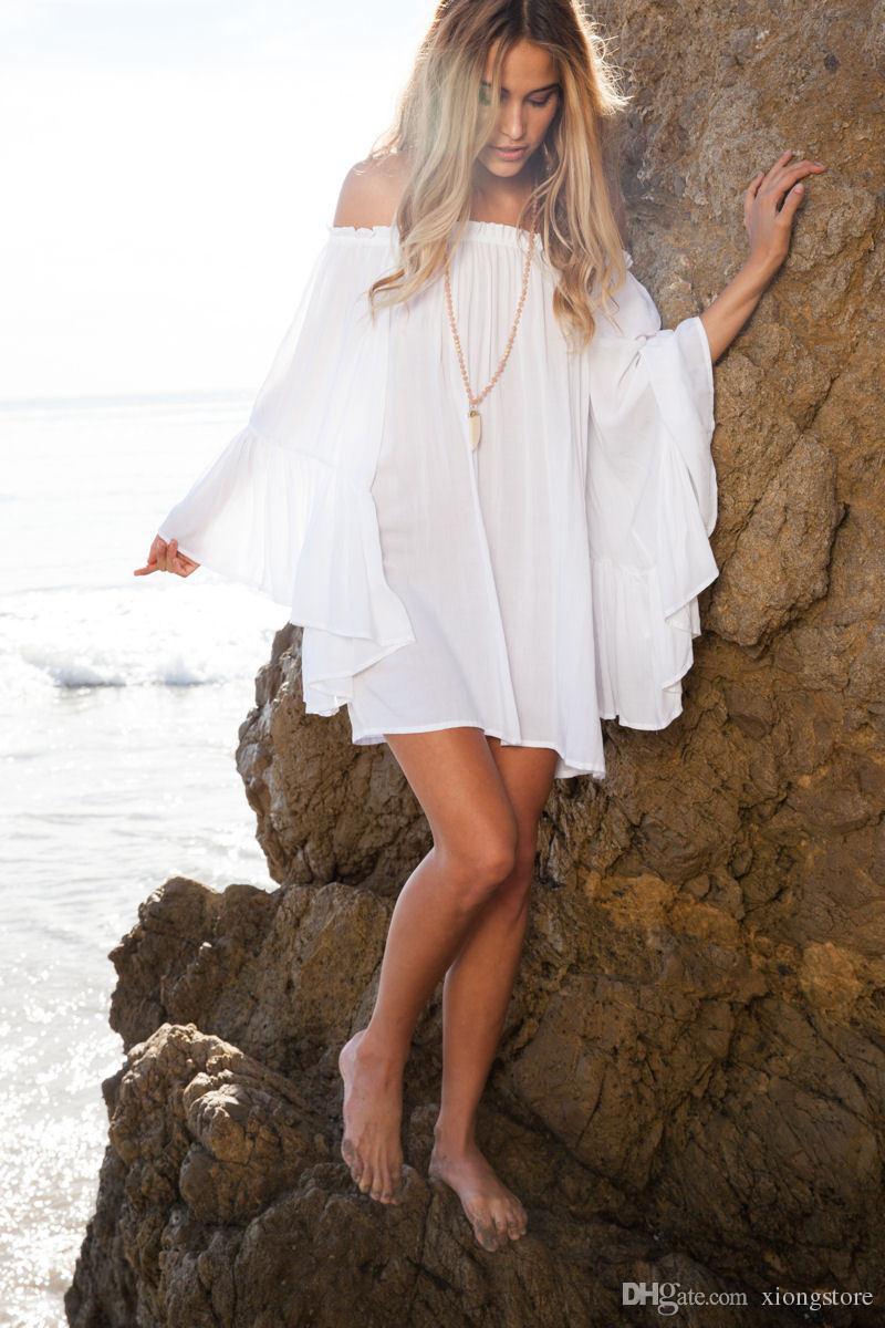 2019 new hot sale summer sexy loose dress large flare long sleeve white dress bohemian beach mini dresses slash neck ruffles vestidos