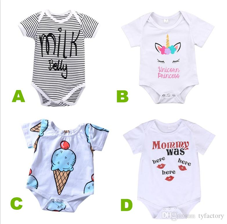 e5d799a94de036 2019 Newborn Baby Boy Girl Unicorn Clothes Summer Romper Onesies Jumpsuit Kids  Clothing Boutique Outfits Letter Striped 2018 Babies Toddler 0 24M From ...