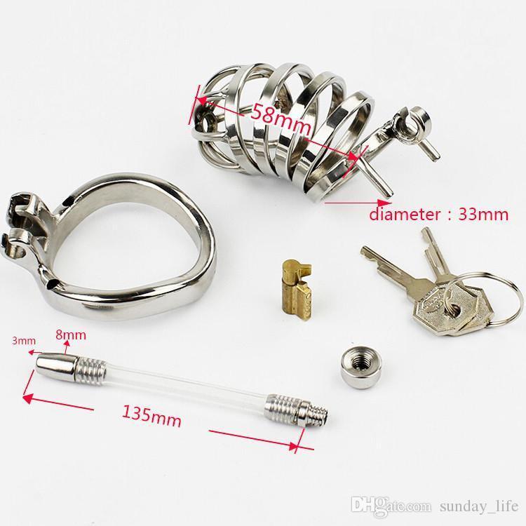 Spedizione gratuita !!!, dispositivo di castità maschile con serratura stealth in acciaio inossidabile con catetere uretrale, gabbia pene, cintura della verginità, anello del pene, SN276-1