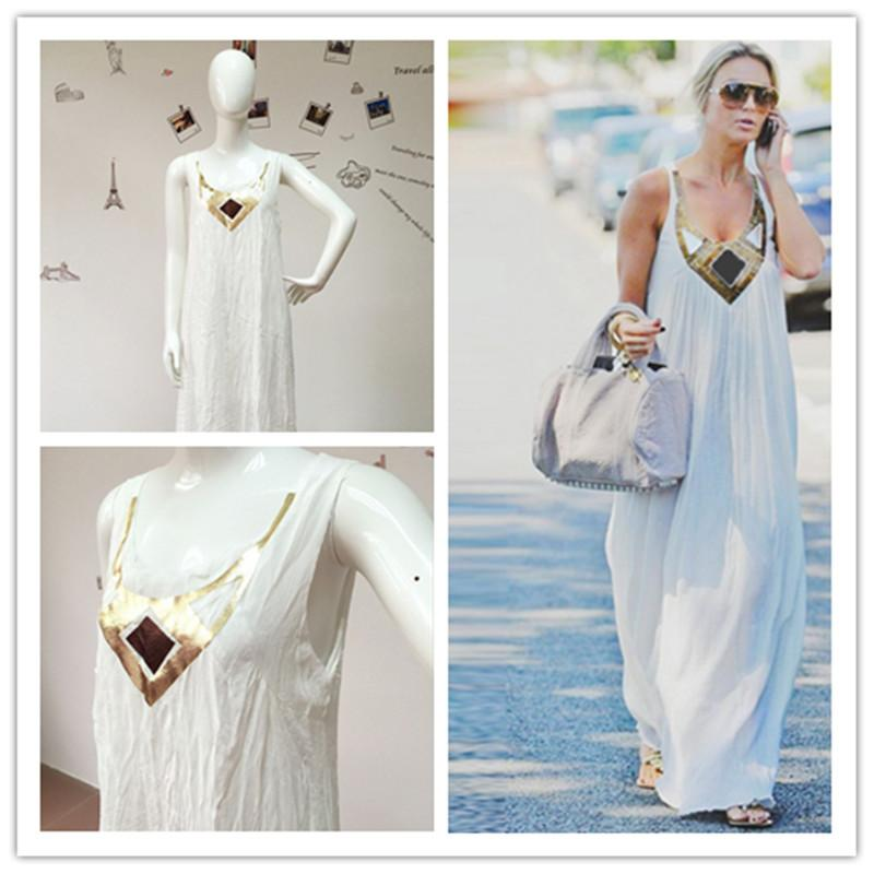 24d15aa9fa Ladies Fashion Leisure Comfortable And Loose Long Skirt Polyester Fiber  Sleeveless Stitching A Large Pendulum Dress Dress Longuette Long Skirt  Online with ...