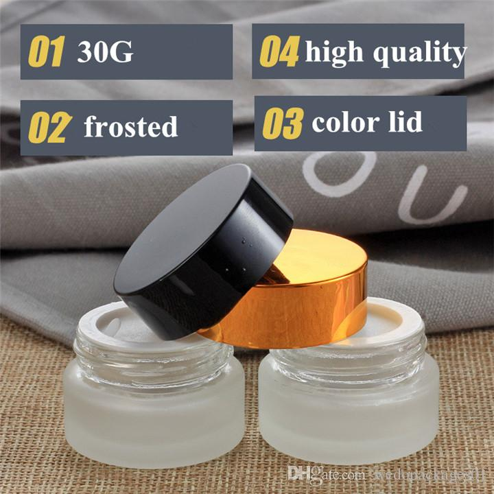 High-end 30g 50g frosted glass jar wide mouth matte cream jar for mask mudpack container & wax pot jar
