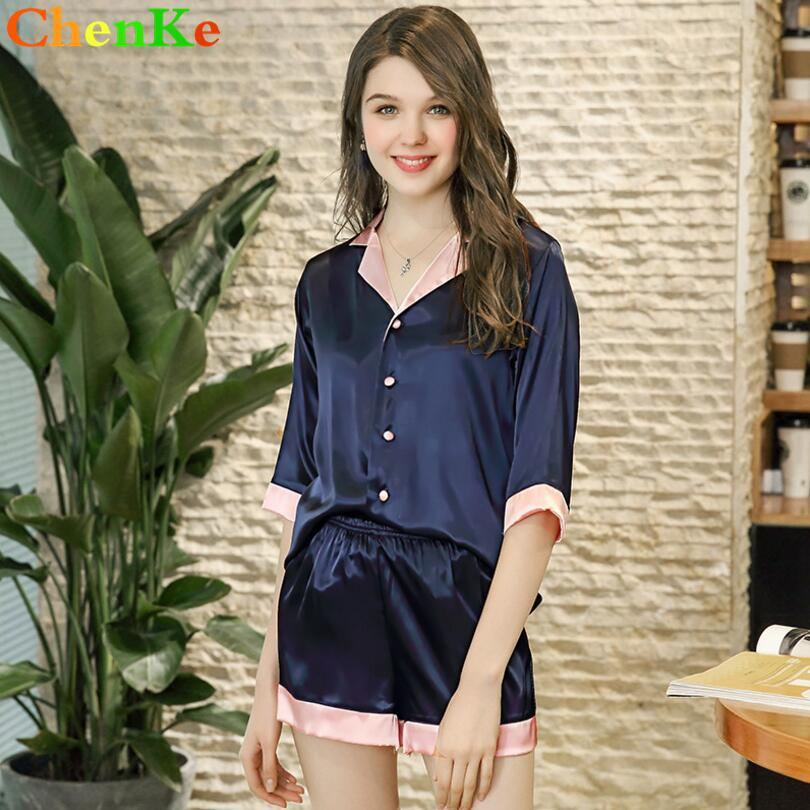 aa2ad09852 2019 ChenKe Ladies Pajamas Sets Satin Silk Short Sleeve Tops+Shorts Sweet  Sleepwear Color Insertion Lapel Nightgown For Women From Roberte