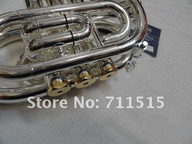 New Arrive Bb Pocket Trumpet High Quality Brass Tube Silver Plated Surface Trumpet Brand Musical Instrument With Case