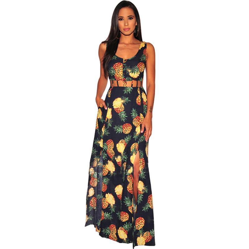 c3b6721700 Women Summer Vintage Dress Pineapple Print Sleeveless Hollow Out Maxi Long  Dress High Waist Side Split Long Boho Beach Dress Halter Dresses Dress  Shopping ...