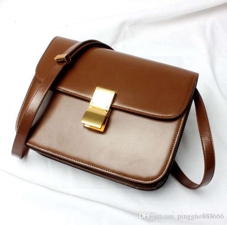 100% genuine leather handbag vogue of new fund of 2018 flight attendant one shoulder his tofu high quality buckles small bread box package