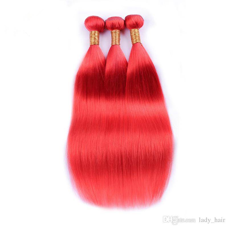 Pure Red Color Virgin Brazilian Human Hair Wefts Extensions Silky Straight Virgin Remy Hair Weaves Light Red Human Hair Bundles 10-30""