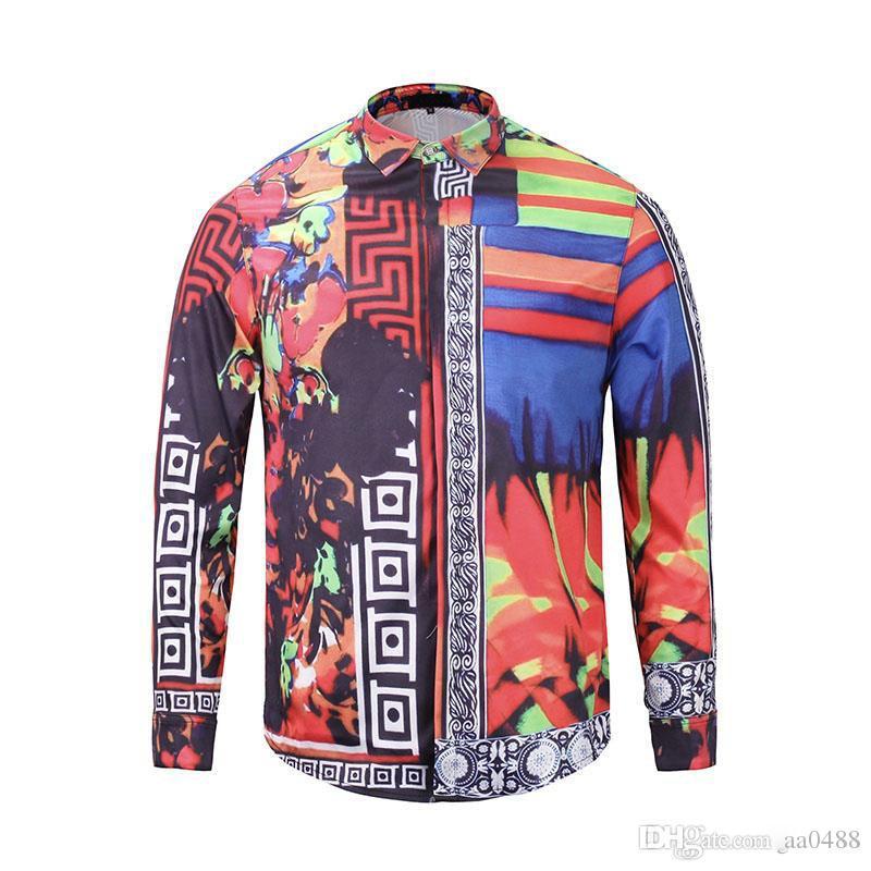 2018 Brand New Medusa printed Luxury Men Dress shirt Slim Fit cotton shirts for men black print casual Business tops social clothes M-3XL