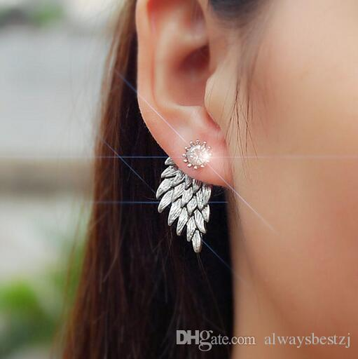 Vintage Angle Wing Earrings Gold Silver Plated Drop Dangle Ear Stud Clips Clear Crystal Eardrop Women Wedding Prom Jewelry Accessories