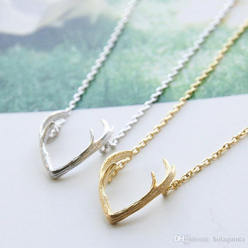 New Fashion Deer Horn Antler Necklace Unique Animal Minimalist Jewelry for Women Chocker