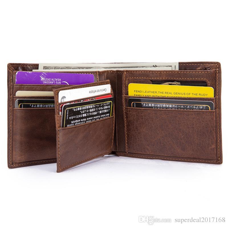 cd4f9fe138c4 Vintage Designer Men Wallet Bifold Matte Leather Wallets Mens Small Trifold  Purse Card Holder Money Bag Business Brand Wallet For Men 8054