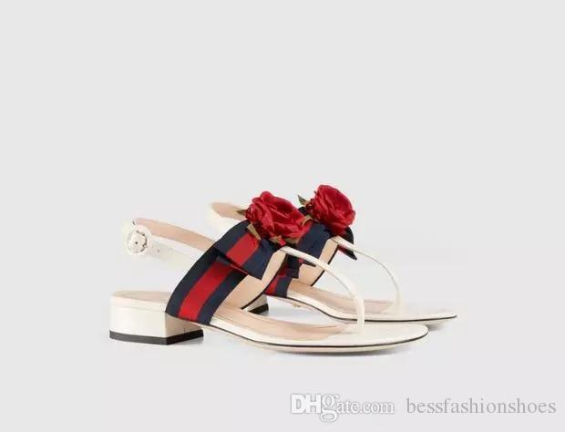 summer genuine leather rose camillie elegant women's flip flops t-tied sandals 2018 female wedding party sandals thick heeled shoes