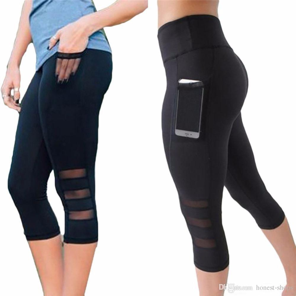 Calf Length Pants Capri Pant Sport Leggings Women Fitness Yoga Gym ... 221a81460671