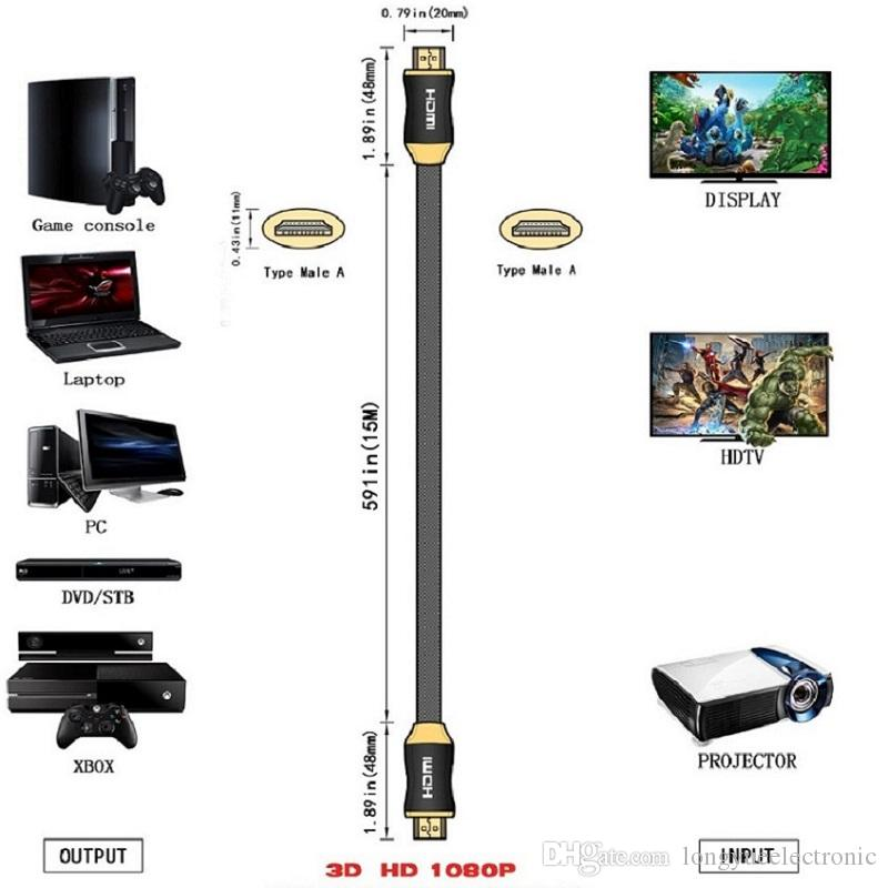 66.5FT 20m GOLD plated metal case cable HDMI v1.4 PREMIUM Cable HDTV 3D 1080P 2160P Lead metre