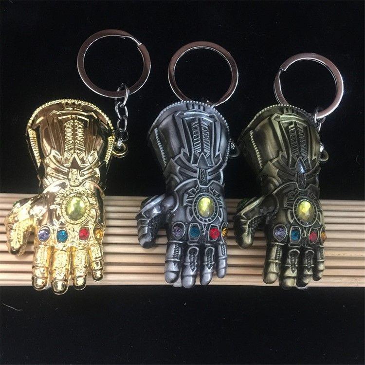 Marvel Avengers Infinity War Thanos Infinity Gauntlet Keychain 7 cm Thanos gloves Alloy Key Chain Kids Toys LA765