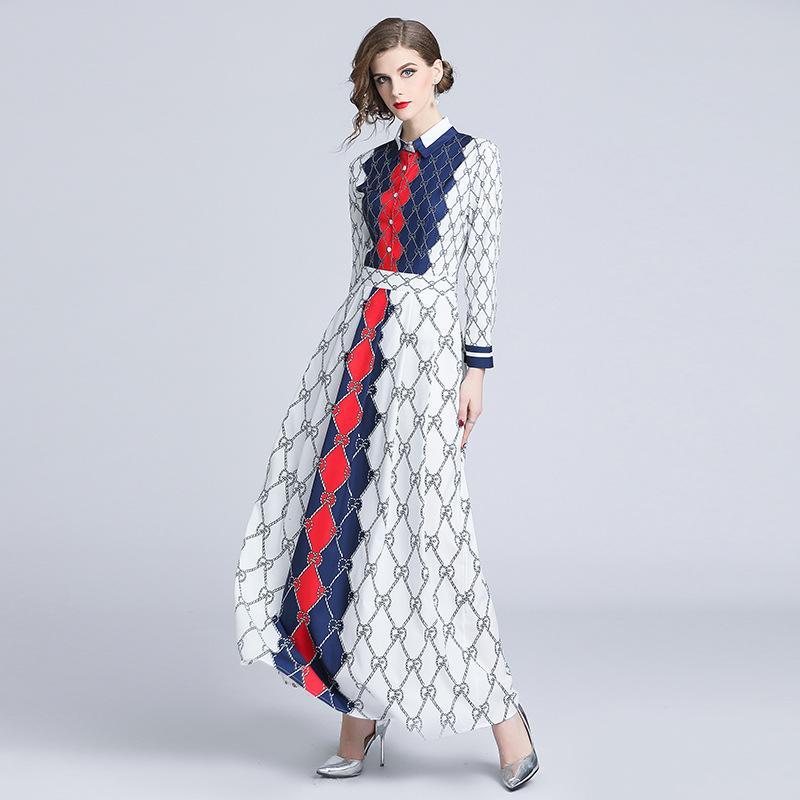 low priced 1089a 83583 Weibliche Party Bankett Kleider Maxi Shirt Kleid Revers Hals Langarm  Geometric Print Kontrast Farbe Tunika Kleider