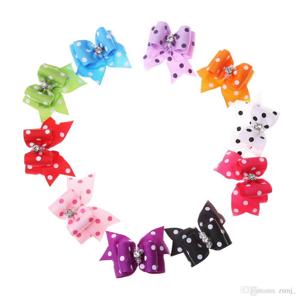 Lovely 4*2cm Fabric Dots Bowtie Dogs Hair Accessories Pet Hair Bows Grooming Gift Products Cute Dog Ornaments Supplies