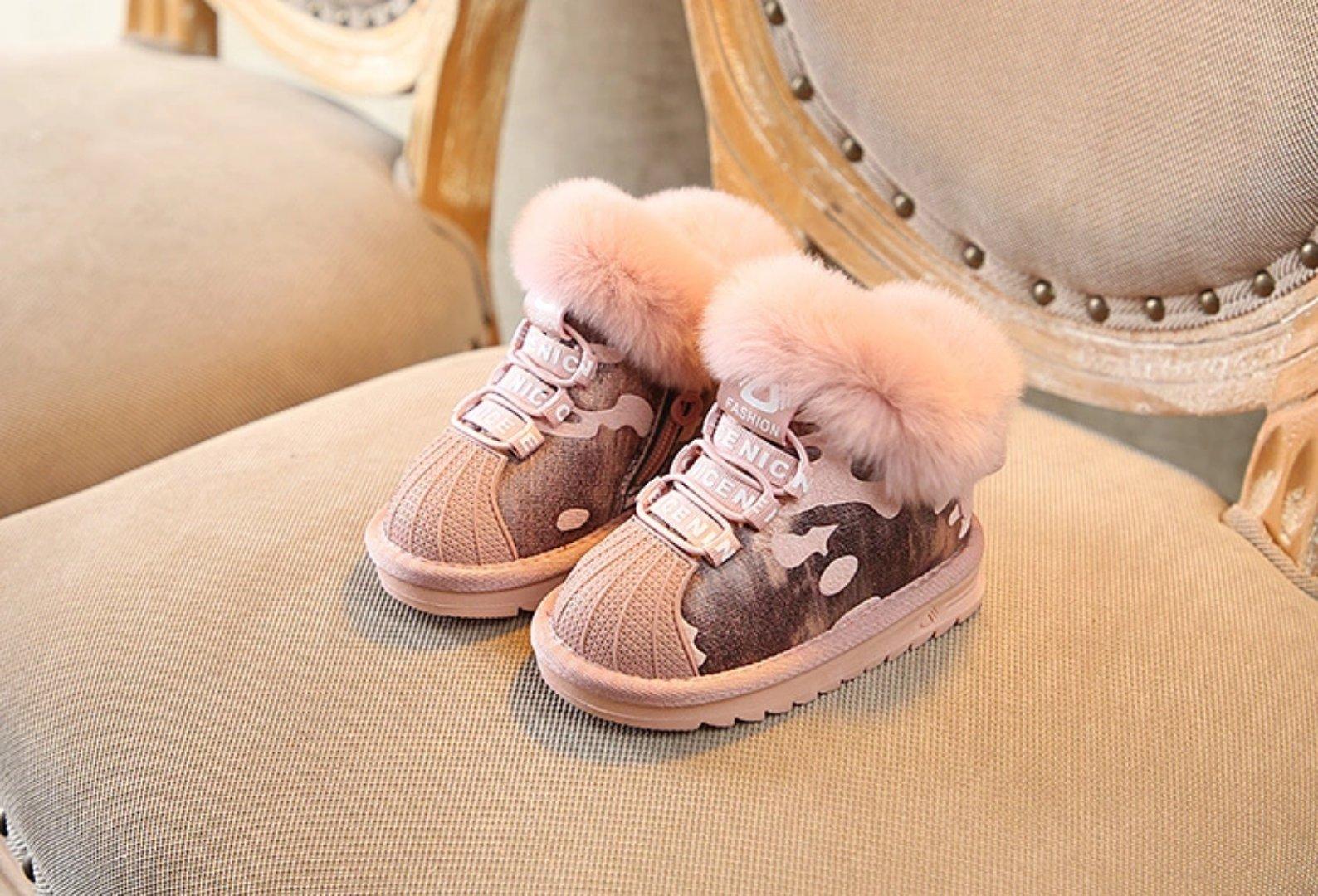 907a18c80 Compre Los Niños De La Moda De Invierno Bota Botas De Nieve Rosa Con  Vestido De Piel De Conejo Cálida Niña Zapato De Navidad Al Tobillo De Alta  Calidad De ...