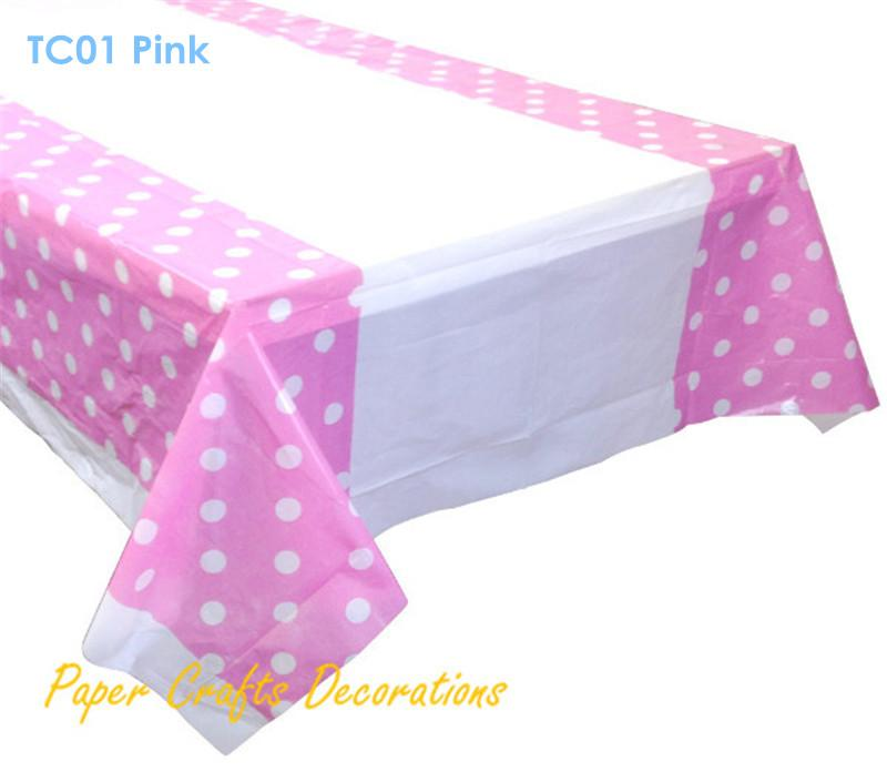 Wholesale 108 180cm Baby Pink Polka Dots Plastic Table Cover Cloths