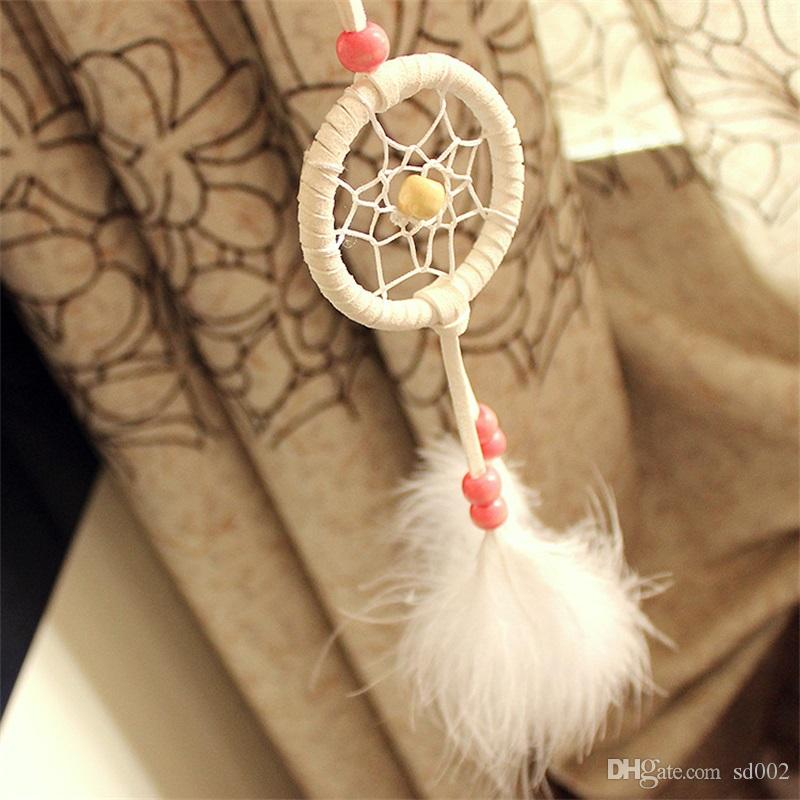 Arte y artesanía del carillón de viento japonés Colgante Mini Dream Catcher Decoración de coches Hecha a mano Pluma Atrapasueños 4 5xr C