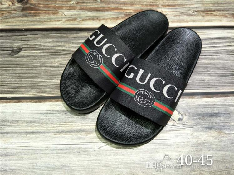 2aaa46d1469682 2019 Men Slides Summer Luxury Designer Beach Indoor Flat G Shoes Brand Mens  Sandals Slippers House Flip Flops With Spike Size EUR 40 45 From  Ziqidonglai314