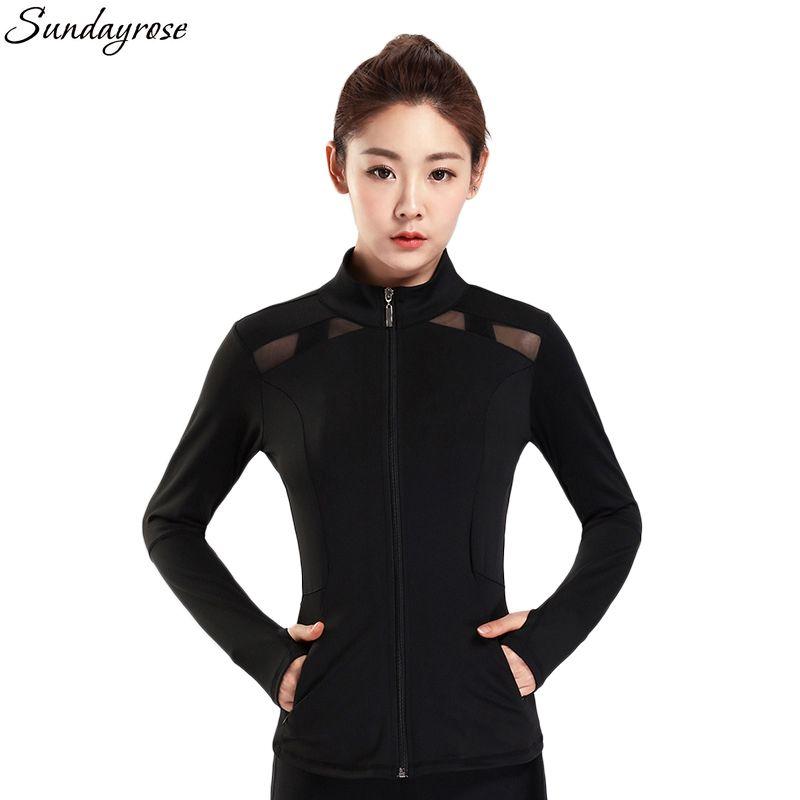 5245de8b0 SUNDAY ROSE Women s Running Jacket Fitness Slim Fit Mesh Patchwork Yoga Gym  Clothes Breathable Sport Jersey Zipper Jackets Women