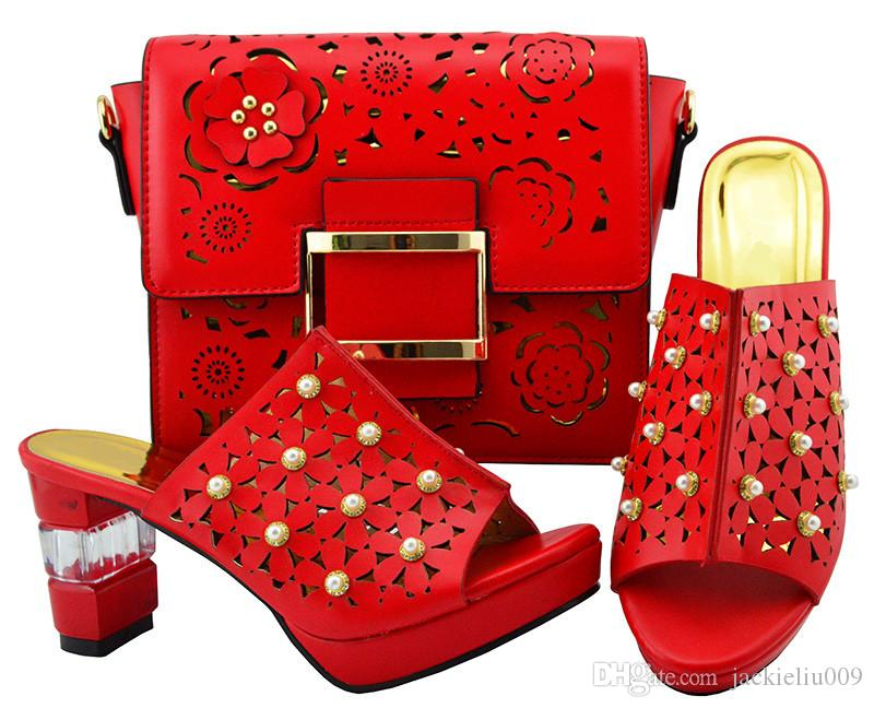 Beautiful Red Women Shoes Match Bag Set With Big Beads Design African Shoes  And Handbag For Dress YM007 bce3864efb1f