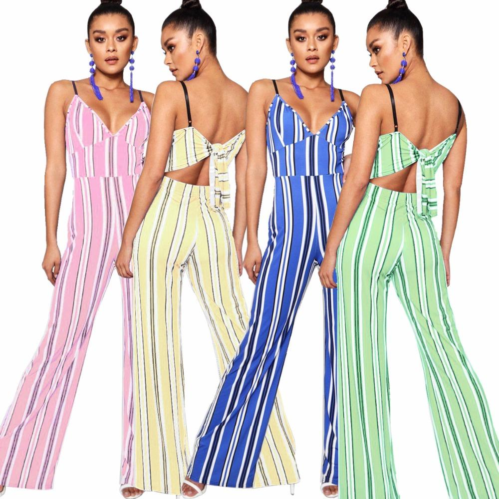 1b5bbe1fe5c Hot Style Ladies Striped Rompers Women Jumpsuit Strap Sexy Jumpsuit ...