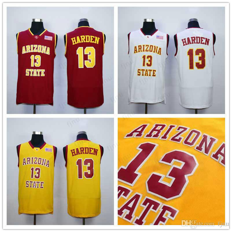 High Quality Men 13 James Harden College Jersey Basketball Arizona State  Sun Devils Jerseys All Stitched Yellow Red White S-2XL Harden Jersey Jersey  ... cdadab4d5