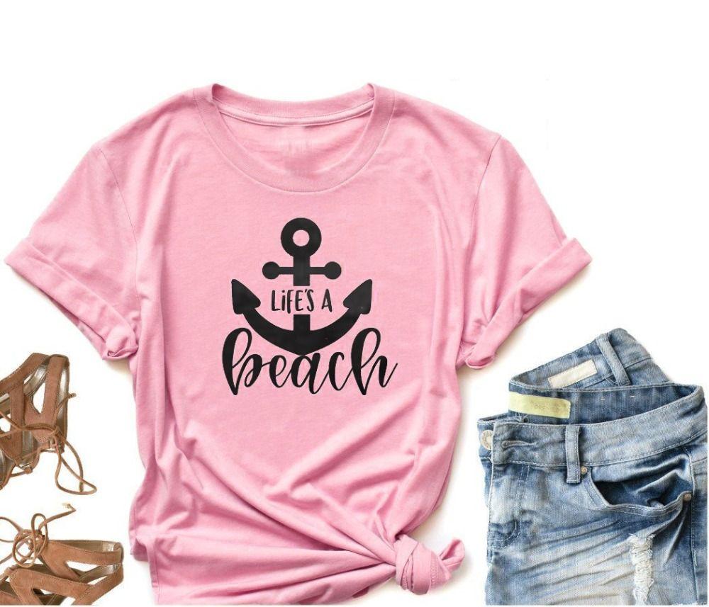 4f0b3afa Women's Tee Life's A Beach T-shirt Anchor Graphic Pink Cotton Quality Tee  Namjoon Camisetas Tumblr Grunge Casual Bride Tribe Slogan Shirt