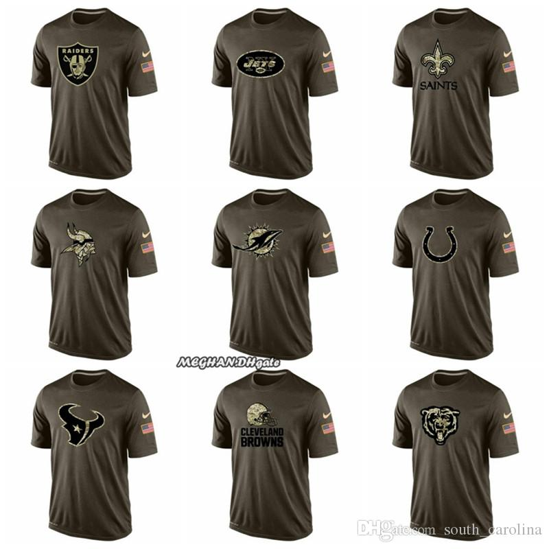 sports shoes ea897 86a64 Men Oakland Raiders New Orleans Saints Minnesota Vikings Colts Houston  Texans Salute Cleveland Browns Salute To Service T-Shirt