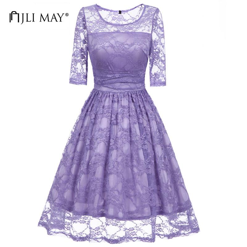 f691ac5beaf 2019 JLI MAY Women Lace Dress Light Purple Solid Slim O Neck Midi Half  Sleeve Office Lady Christmas Elegant Wedding Party Dresses From Honey111