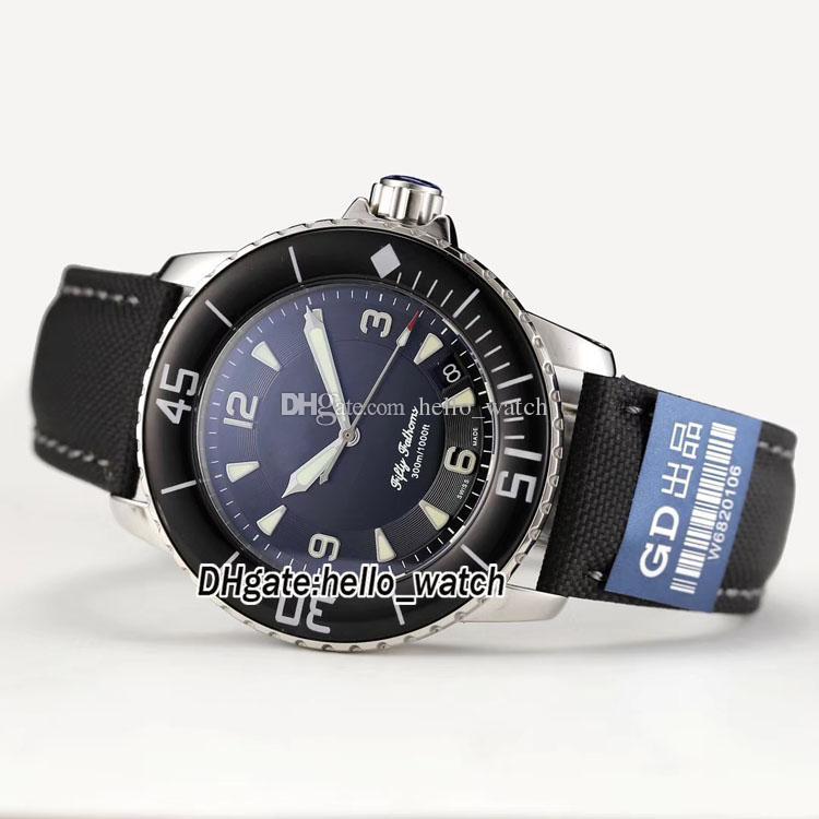 저렴한 신품 FIFTY FATHOMS 50 Fathoms 5015-1130-52 일본 Miyota 8215 자동 블랙 다이얼 남성용 시계 가죽 스트랩 스포츠 고품질 시계