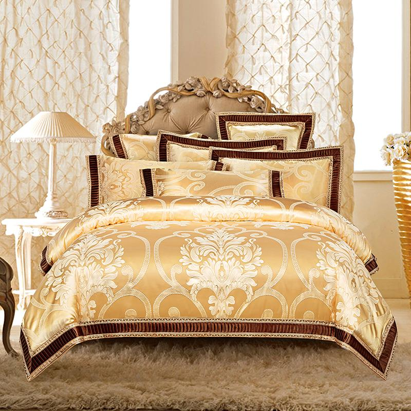 Golden Silver White Luxury Bedding Sets Queen King Size Duvet Cover