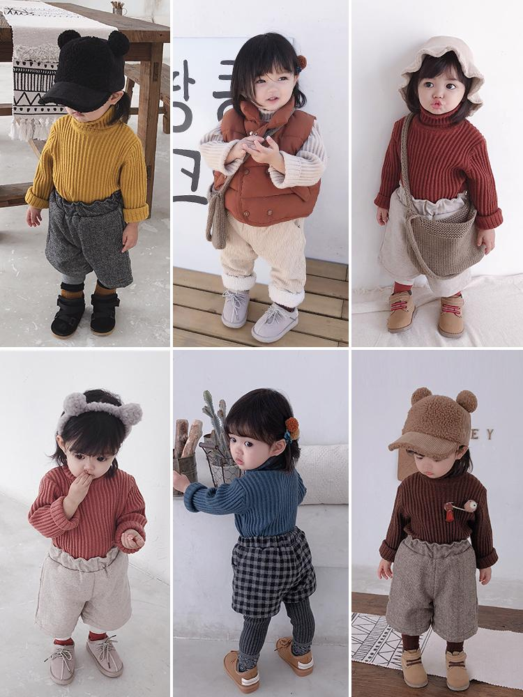 32bb4b96885 Cute Baby Girl Thickening Sweaters 2018 Winter Simple Pit Cotton Turtleneck  Sweater For Newborn Baby Toddler Girls Knitted Cloth Kids Sweater Patterns  Kids ...
