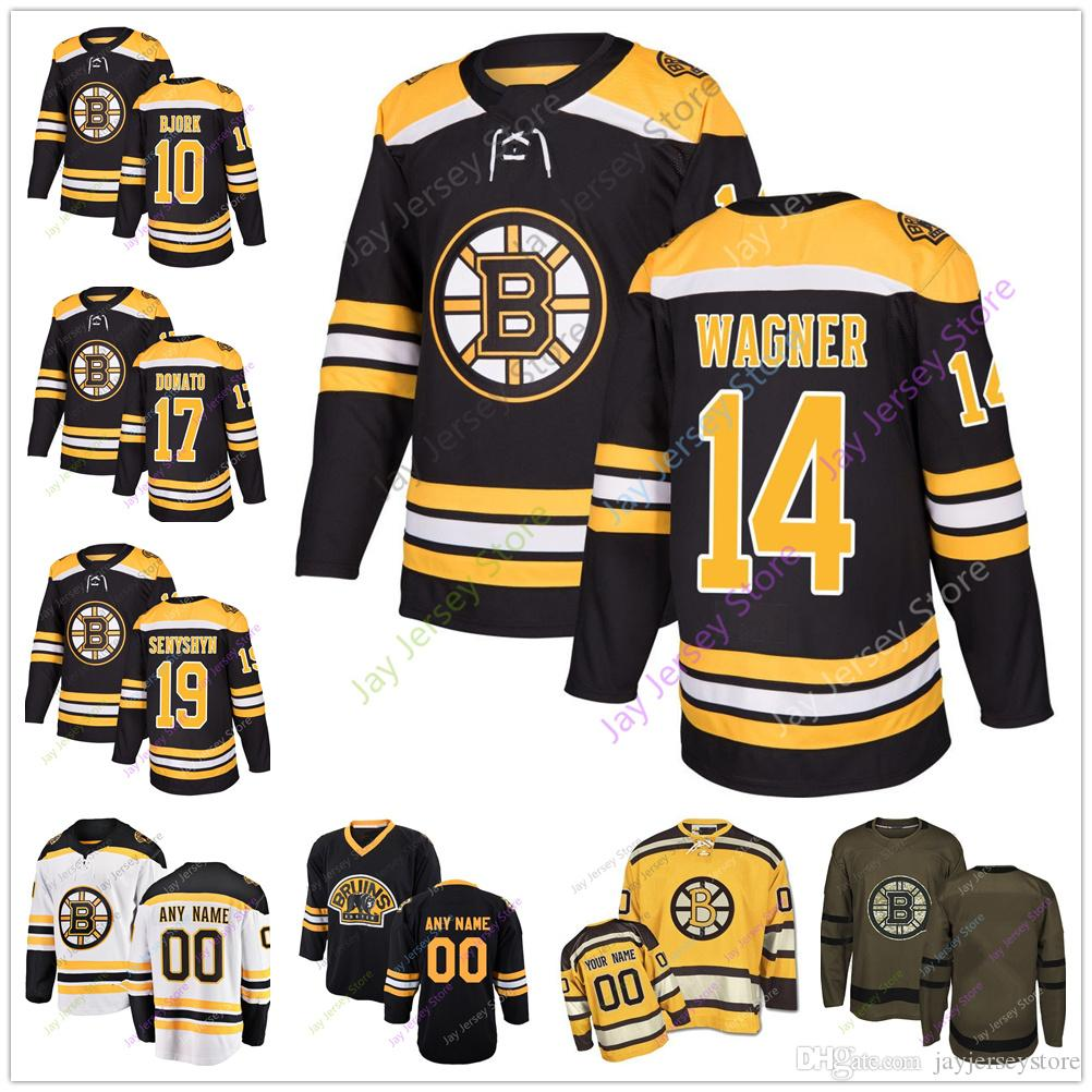 10 Anders Björk 14 Chris Wagner Ryan Donato 19 Zach Senyshyn Trikot 2018 2019 Männer Frauen Jugend Winter Classic Boston Bruins Salute zum Service