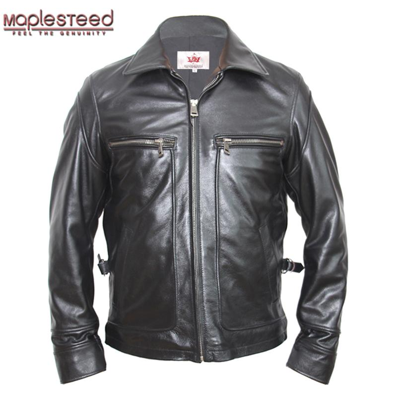 2019 Maplesteed Vintage Leather Jacket Men Brown Black Thick 100