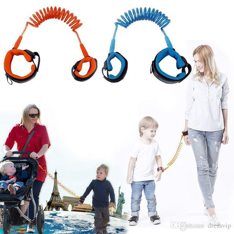 1.5M 2M 2.5M Fashion Baby Child Kids anti lost wristband Wrist Link Safety Harness Strap Rope Leash with metal connector Free