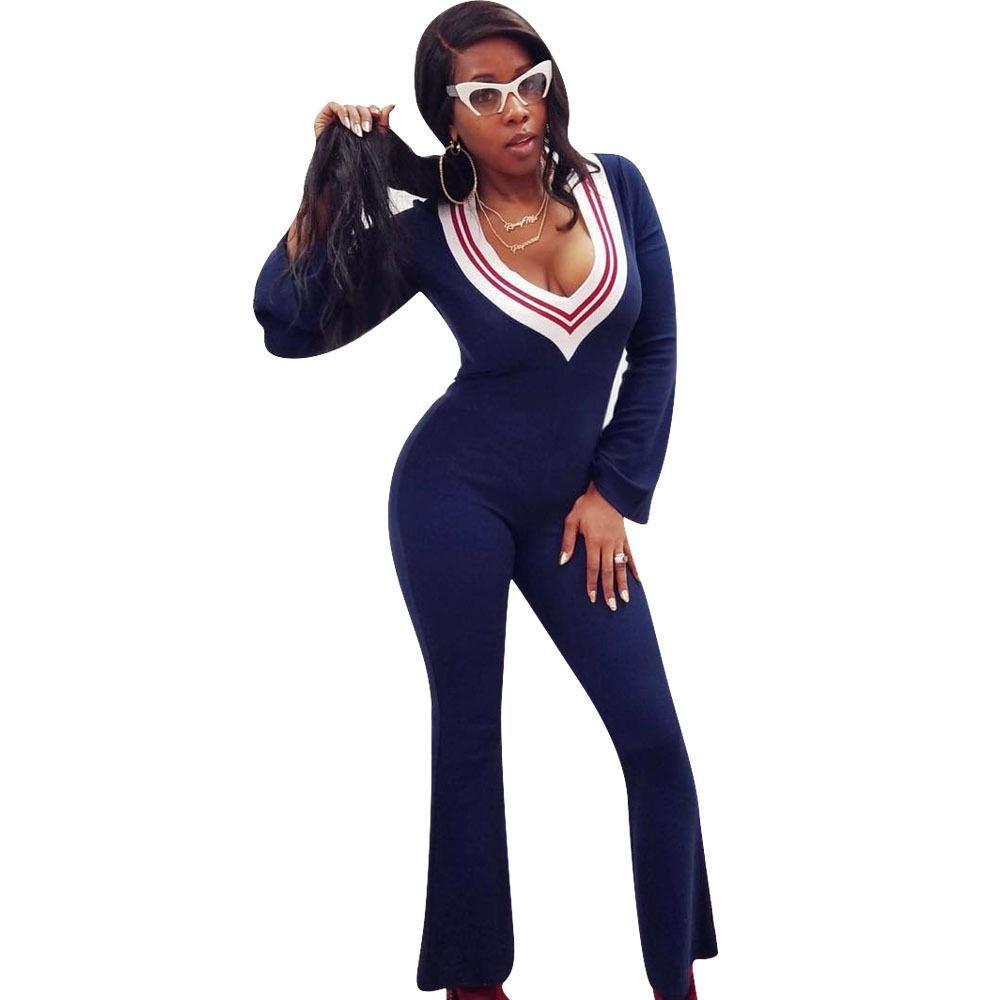 Acquista Donna Casual Tuta Sexy Scollo A V Profonda Tute Pagliaccetti Donna  Tute Sportive Catsuits 2018 Vestiti Nuovi Abbigliamento A  15.08 Dal  Hengda999 ... 050116aa020