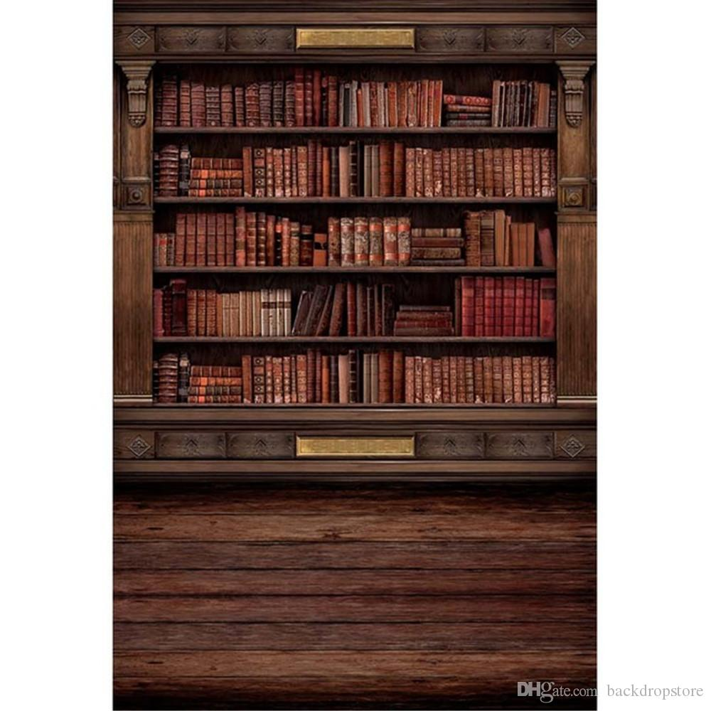 2018 Vintage Wooden Bookshelf Photography Backdrops Digital Printed School Library Books Retro Style Indoor Photo Studio Backgrounds Wood Floor From