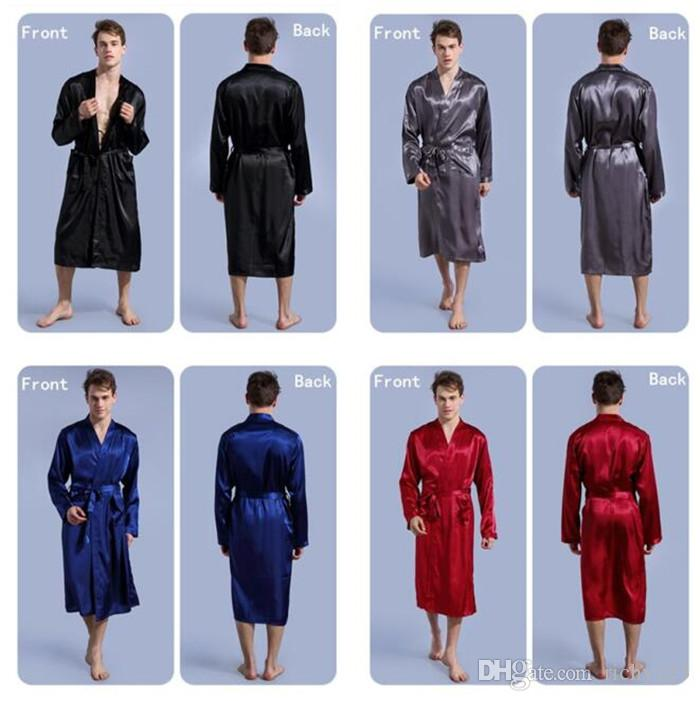 10pcs 4 colors Fashion men's Solid Silk Kimono Robe for Bridesmaids Wedding Party Night Gown Pajamas M026