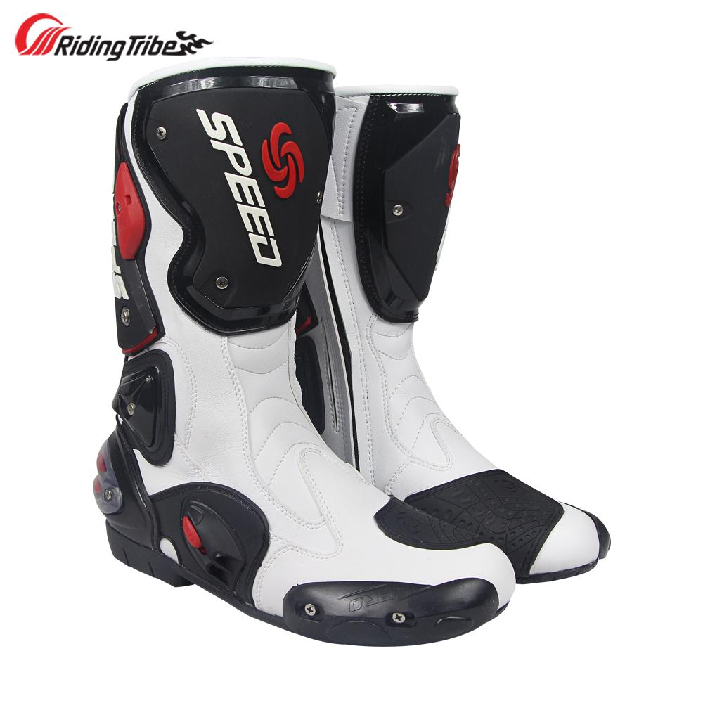 f774b0d06c0 Compre Equitación Tribe Botas De Moto Para Hombre Antideslizante Media  Pantorrilla Buena Protección Moto Moto Riding Racing Shoes Protecciones Para  Pies ...