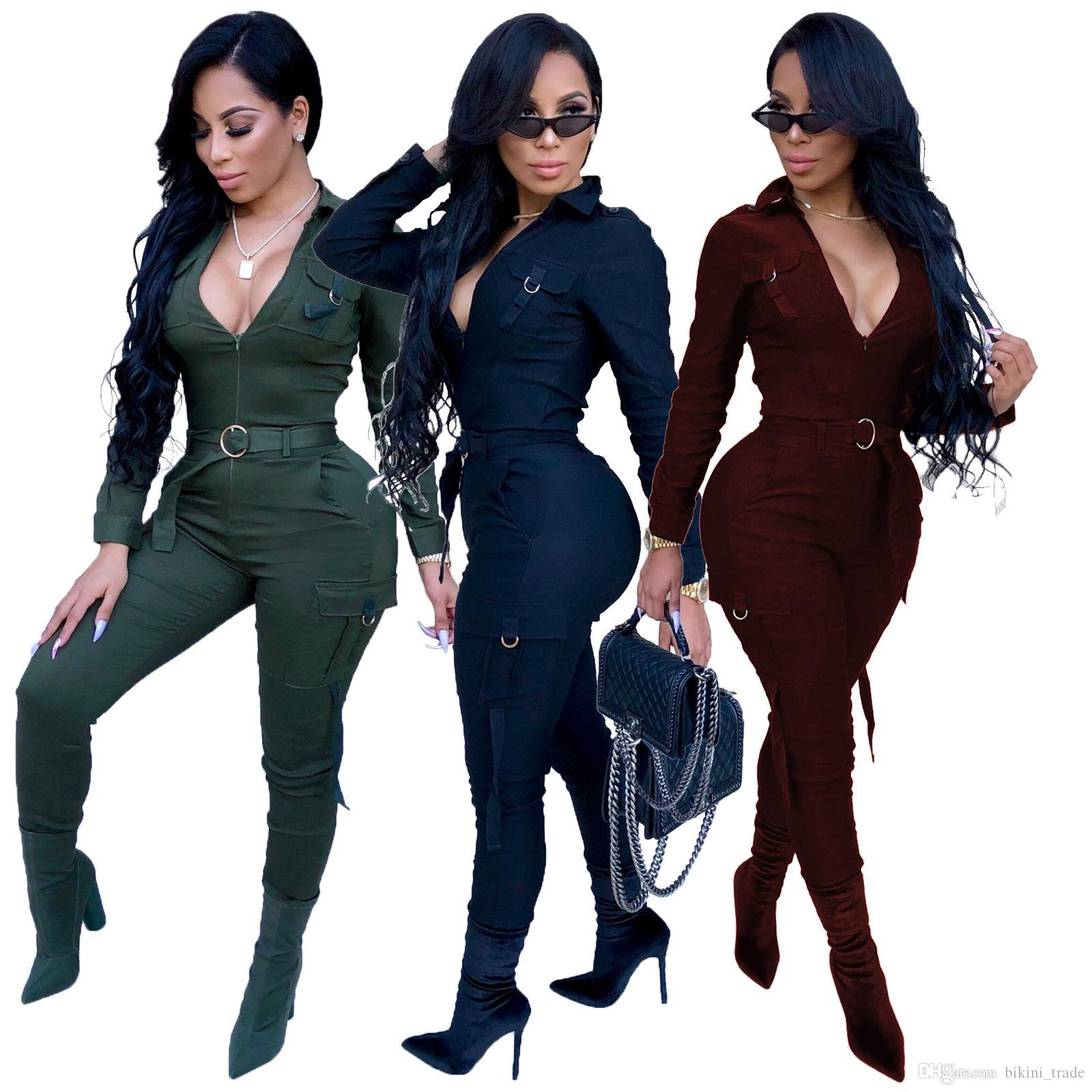 832aefbec830 2019 Solid Sexy Jumpsuits Women Autumn Long Sleeve Deep V Neck Skinny Party  Romper Sashes Full Length Casual Fashion Catsuit Best Selling From  Bikini trade