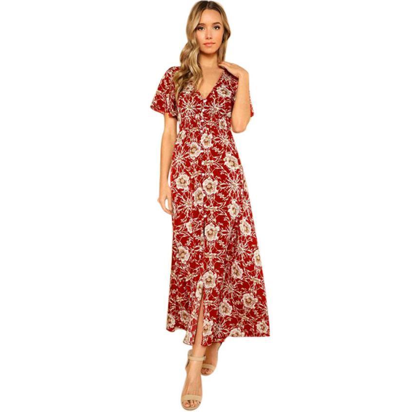 cb4f9e2aab Womens V Neck Long Boho Dress Lady Beach Summer Sundrss Maxi Dress Bohemian  Style Short Sleeve Loose Ladies Dresses Moda Mujer Sexy Party Dresses  Womens ...