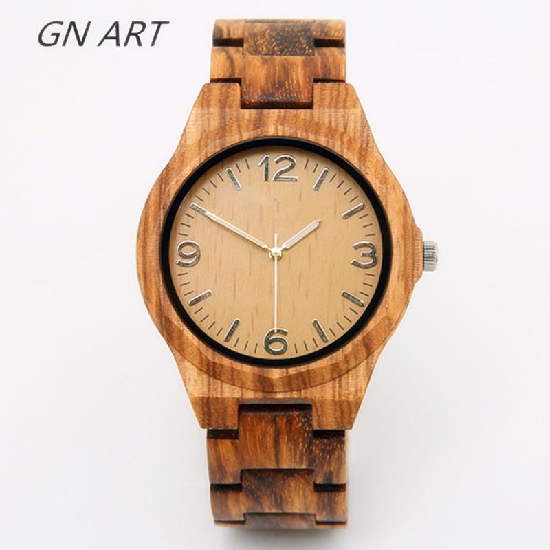 626aff0d4ce Compre GNART01 Madeira Relógios Homem Esporte Criativo Pulseira Analógico  Natureza Relógio De Marca De Relógios De Bambu Masculino Relógios De Marca  ...