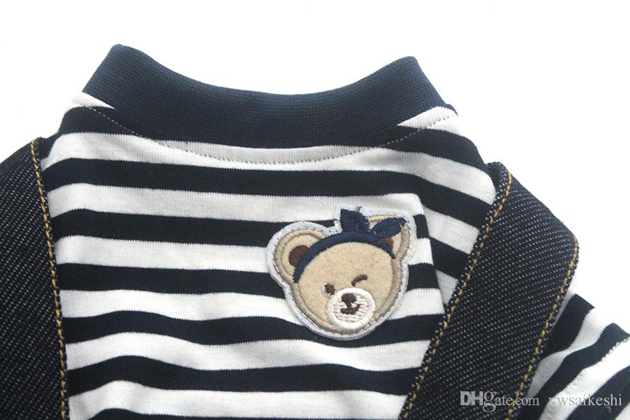 Dog Cat Striped Bear Jumpsuit Pants Pet Puppy Coat Jacket Shirt Spring/Summer Clothes Apparel 2 Colours 5 Sizes