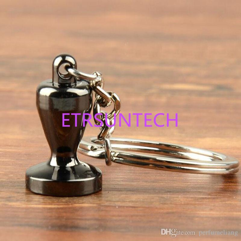 Zinc Alloy Coffee Tamper Handle Keychain Portable Keyring Coffeeware Tools Promotion Gifts Barista Coffee Accessories QW7821