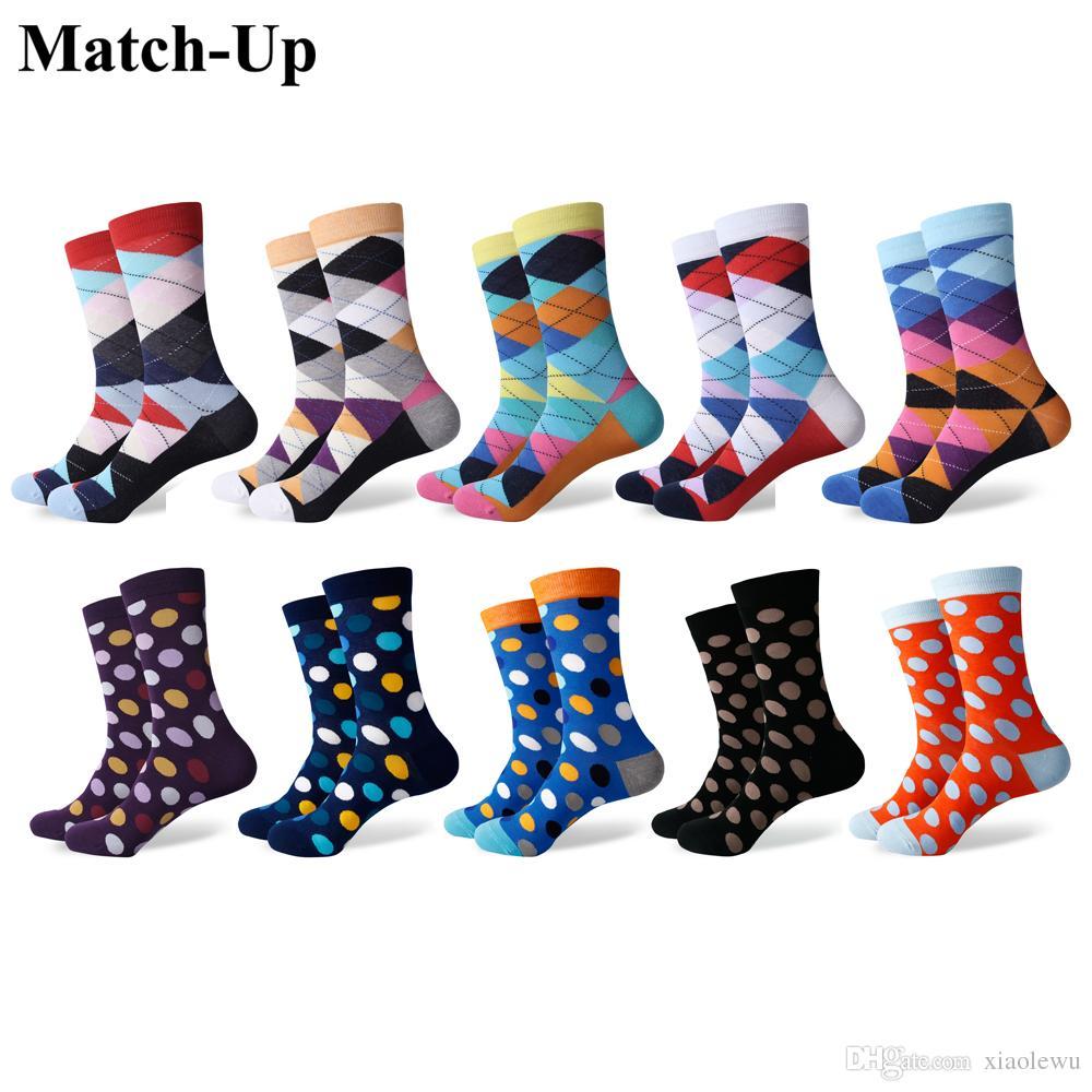 2019 match up fun dress socks colorful funky socks for men cotton