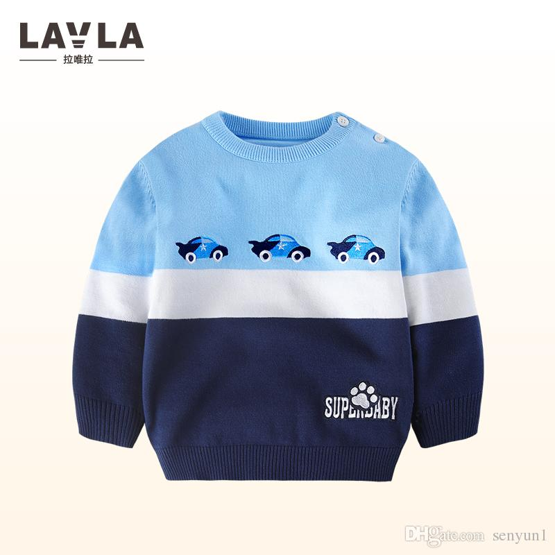Lavla 2018 New Baby Boys Sweaters Car Pattern Cotton Knitted Sweater