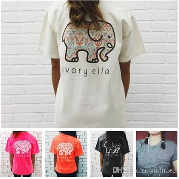 742ae83790c39d Ivory Ella Womens T Shirts Blended Cotton Elephant Print Summer Short  Sleeves Crew Neck Fashion Clothes Clever T Shirts Best Tee Shirts From  Guilinled