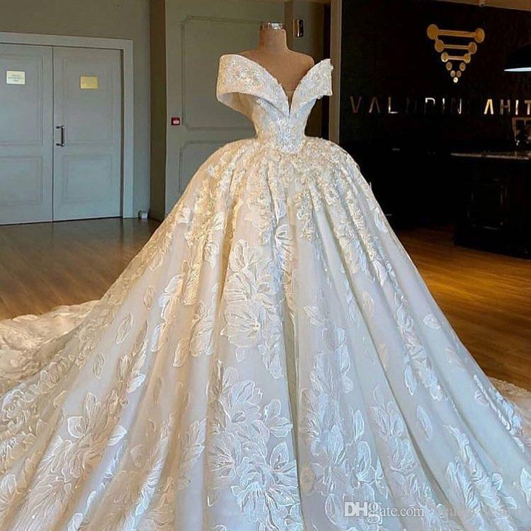 2019 Real Photos Luxury Royal Ball Gown Lace Wedding Dresses Chapel Train  Nigerian Wedding Haute Couture V Neck Off Shoulder Engagement Look Short  Wedding ... 8d751cbbd298